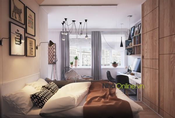 Phòng ngủ được phân cách bằng một tấm kiếng trong suốt.