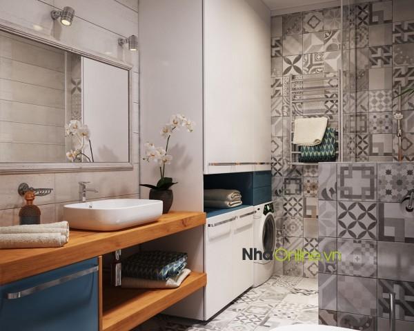 Phòng tắm và sự thay đổi hoa văn xen kẽ một cách sáng tạo.