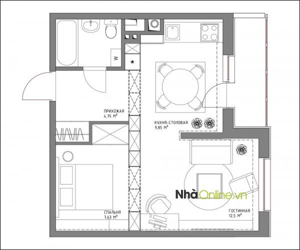 Sơ đồ thiết kế căn hộ 43.5m2 của chàng trai độc thân.