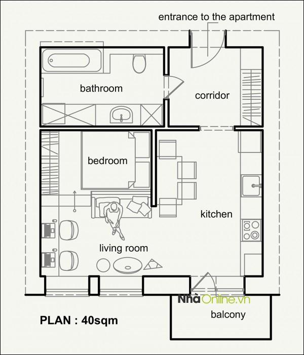 Sơ đồ thiết kế căn hộ 40m² tại thành phố Lviv, Ukraine.